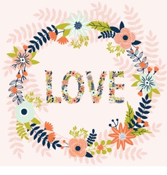 Love card with flowers vector image