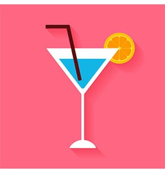 Flat cocktail with orange slice and tubule vector
