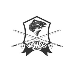 Fishing club crest with trout vector