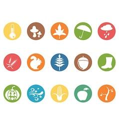 autumn round button flat icons set vector image