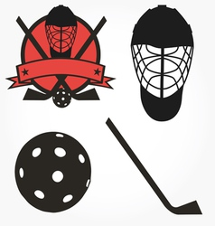 Unihockey floorball hockey icon set vector