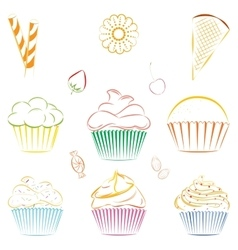 Set of cupcakes and sweets outline vector