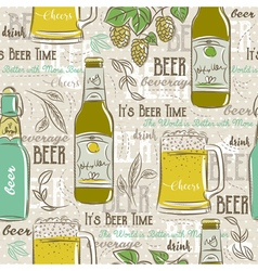 Beige seamless patterns with set of beer bottle vector