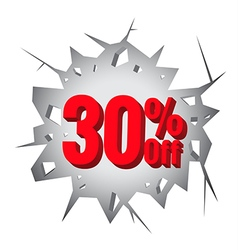 Sale 30 percent on hole cracked white wall vector