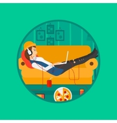 Woman lying on sofa with many gadgets vector