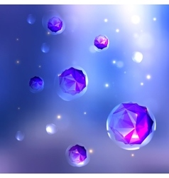 Abstract background crystals in bubbles vector image
