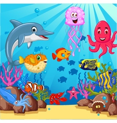 Funny cartoon sea life for you design vector