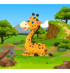 Funny giraffe cartoon sitting in the jungle vector