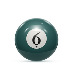 Billiard six ball isolated on a white background vector