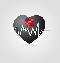 black heart with plaster and Graph vector image