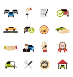 Car dealership icons set vector