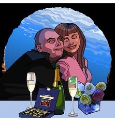 cartoon man hugs a woman on a date vector image vector image