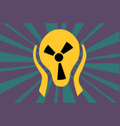 caution radiation sign in the form of screaming vector image vector image