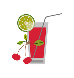 Color silhouette of refreshing drink with lemon vector