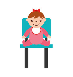 Cute girl baby sitting on chair avatar character vector