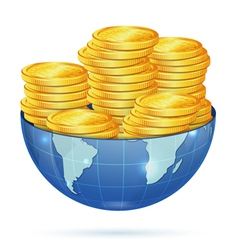 Earth with gold coins vector