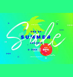 End of summer season sale banner tropic vector