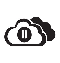 flat black cloud pause button icon vector image