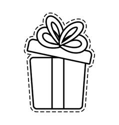 Gift box ribbon wedding present open cut line vector