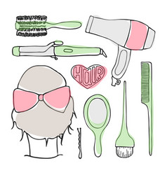 Hairdressing tools doodle set vector