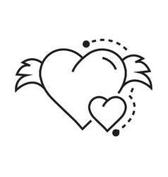 icon hearts wings vector image vector image