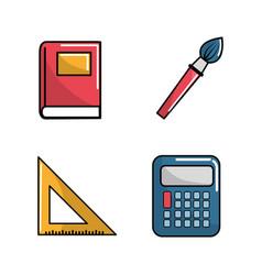 Notebook school tools icon vector