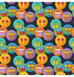 pattern with gift box icons in flat style vector image