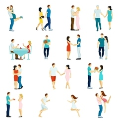 People fall in love icon set vector