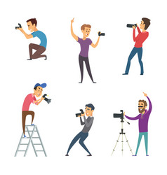 Photographers make photos set of funny characters vector