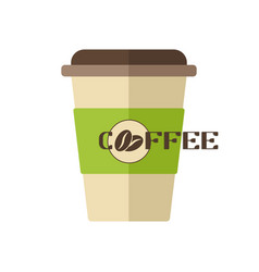 Plastic coffee cup icon coffee beans logo vector