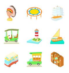 regatta icons set cartoon style vector image