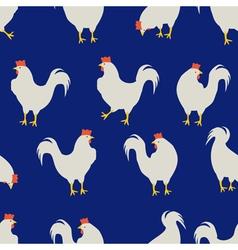 rooster pattern dark blue vector image