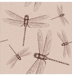 Seamless dragonfly sketch vector