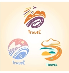 Set logo travel company tourist trip the vector