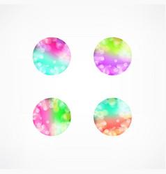 Set of blur bokeh multicolor shapes trendy vector