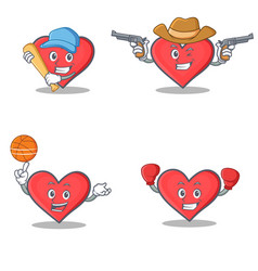 Set of heart character with baseball cowboy vector