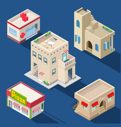 set of various isometric buildings vector image vector image