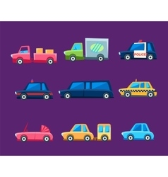 Toy colorful different service cars set vector