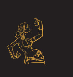 Tribal belly dancer with cymbals holding vector