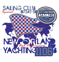 Yachting club grunge artwork for sportswear in cu vector