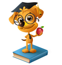 yellow dog teacher holding red apple vector image vector image