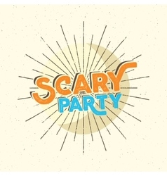 Halloween scary party typography label template vector