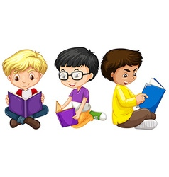Three boys reading books vector