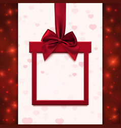 Red banner with ribbon and bow in form of gift vector