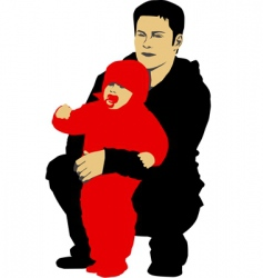 Father and his child vector