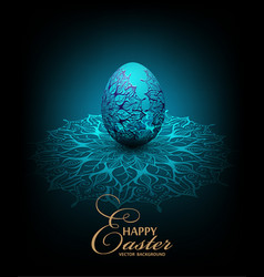 Blue background with transparent lace easter egg vector