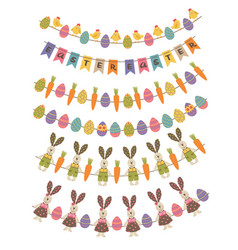 Set of isolated happy easter garland vector