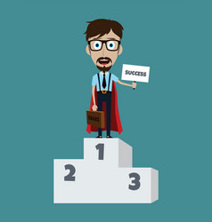 young businessman in podium flat style superhero vector image