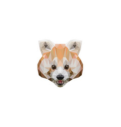 stylized geometric red panda head in clean vector image