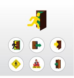 Flat icon door set of entry entrance emergency vector